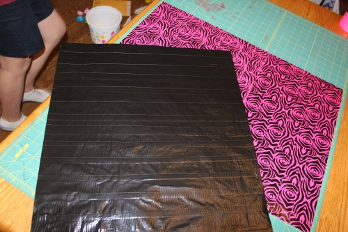 complete fabric, cut into 2 equal parts.   We made too much!
